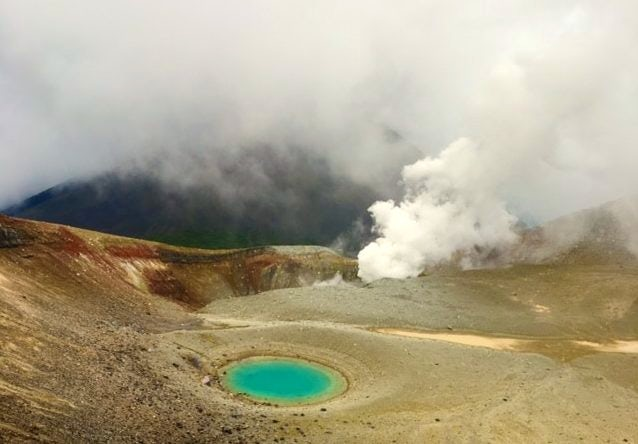 hissing steam and sulphur fumes in Mt. Meakan