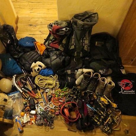 Technical gear ready for climbing