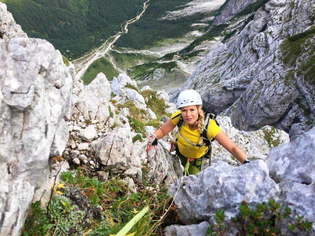 Rock climbing in Mt Triglav