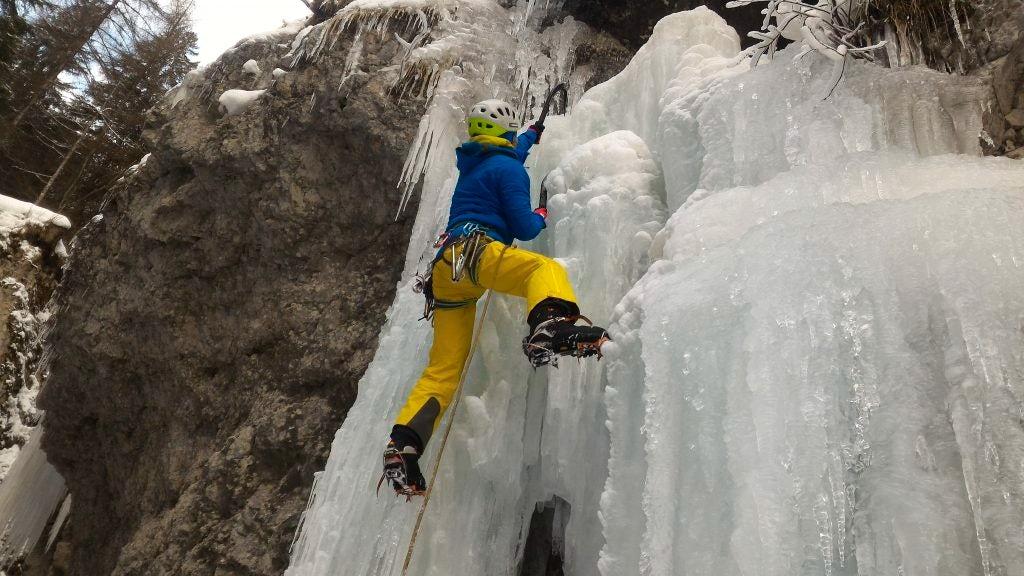 Ice climbing in Val di Fassa