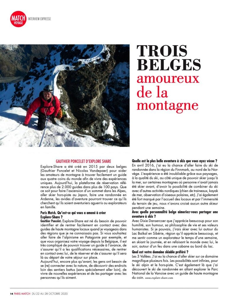 Paris Match article on Exlore and Share